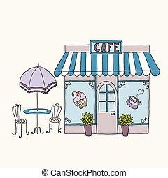 Cartoon vector illustration of street cafe.