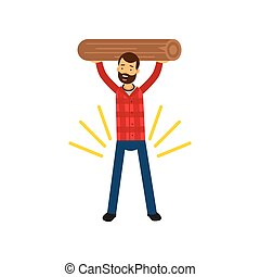 Cartoon vector illustration of strong bearded man in plaid shirt holding wooden log above his head