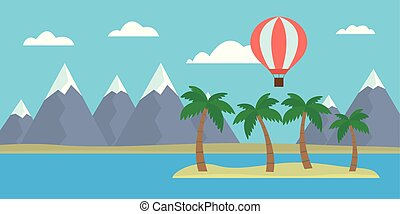 Cartoon vector illustration of tropical island with hills and palm trees and hot air balloon flying between clouds on blue sky