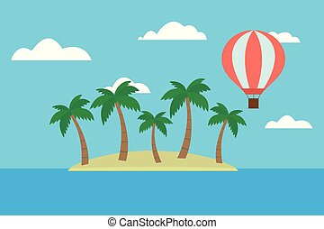 Cartoon vector illustration of tropical island with palm trees and hot air balloon flying between clouds on blue sky