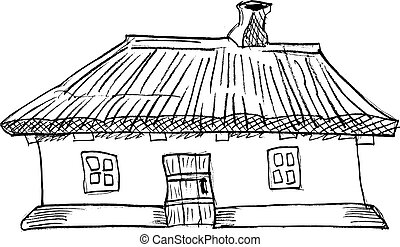 Ukrainian traditional house - cartoon, vector illustration...