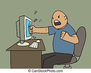 angry user - Cartoon vector illustration of Very angry user ...