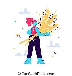 Cartoon vector illustration of woman
