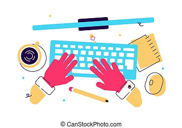 Cartoon vector illustration of workplace.