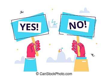 Cartoon vector illustration of Yes No banner in human hand ...