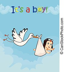 cartoon vector illustration with stork bringing cute baby boy
