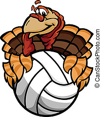 Cartoon Vector Image of a Happy Thanksgiving Holiday Volleyball Turkey Holding a Volleyball Ball