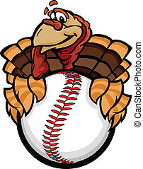 Cartoon Vector Image of a Happy Thanksgiving Holiday Baseball or Softball Turkey Holding a Baseball Ball