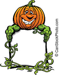 Cartoon Vector Image of a Happy Halloween Pumkin Jack O Lantern Holding a Sign with Vines