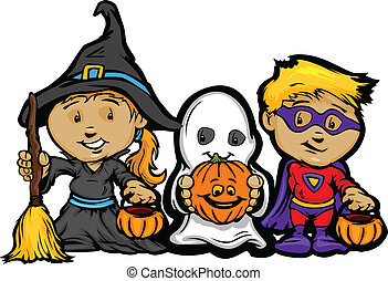 Cartoon Vector Image of a Happy Halloween Children Girl With...