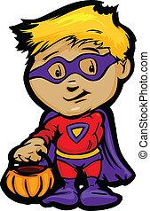 Cartoon Vector Image of a Happy Halloween Super Hero Boy With Trick or Treat Jack-O-Lantern