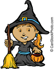 Cartoon Vector Image of a Happy Halloween Witch Girl With Trick or Treat Jack-O-Lantern