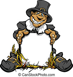 Cartoon Vector Image of a Happy Thanksgiving Holiday Pigrim...