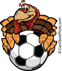 Cartoon Vector Image of a Happy Thanksgiving Holiday Soccer Turkey Holding a Soccer Ball