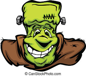 Cartoon Vector Image of a Happy Halloween Monster Frankenstein Head with Smiling Expression
