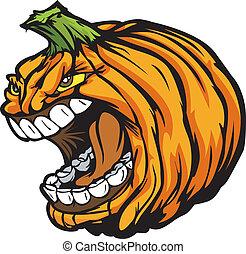 Cartoon Vector Image of a Scary Screaming Halloween Pumkin Jack O Lantern Head