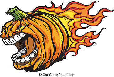 Cartoon Vector Image of a Scary Flaming Halloween Pumkin Jack O Lantern Head with Screaming Expression