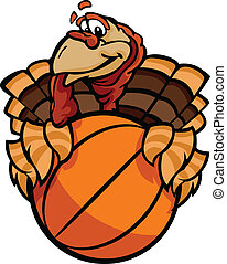 Cartoon Vector Image of a Thanksgiving Holiday Tennis Turkey Holding a Basketball Ball