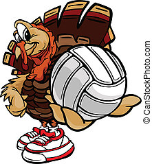 Cartoon Vector Image of a Thanksgiving Holiday Volleyball Turkey Holding a Volleyball Ball