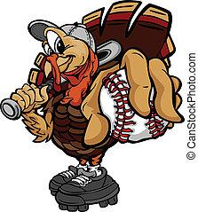 Cartoon Vector Image of a Thanksgiving Holiday Baseball or Softball Turkey Holding a Baseball Ball and a Bat