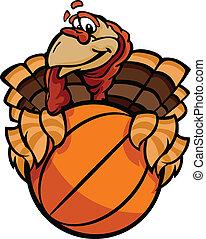 Cartoon Vector Image of a Thanksgiving Holiday Tennis Turkey Holding a Basketball Ball