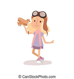 Cartoon vector kid playing pilot aviation character.