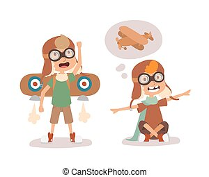 Cartoon vector kids playing pilot aviation character.