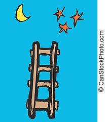 cartoon vector ladder, moon, stars