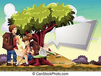 Cartoon vector landscape on the theme of adventures and outdoor recreation