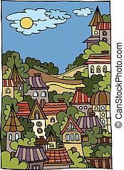 cartoon vector landscape with city
