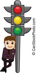 Man Standing with Traffic Light