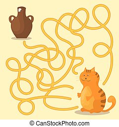 Cartoon Vector - Maze or Labyrinth Game for Preschool Children with Cat and Milk