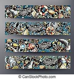 Cartoon vector nautical doodle banners - Cartoon vector...