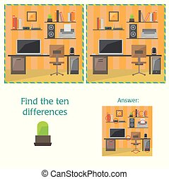 Cartoon Vector of Finding Differences Between Pictures Educational Activity Game