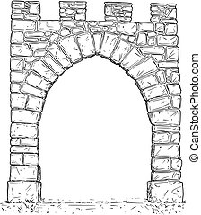 Cartoon Vector of Open Stone Medieval Decision Gate -...