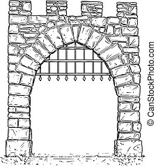 Cartoon Vector of Open Stone Medieval Decision Gate with...