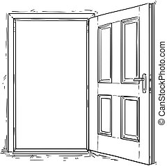 Cartoon Vector of Open Wooden Door - Vector cartoon of open...
