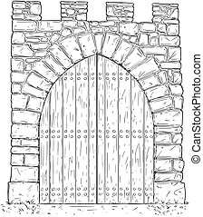 Cartoon Vector of Stone Medieval Decision Gate Closed by...