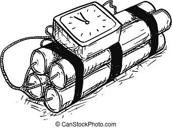 Cartoon Vector of Time Bomb with Analog Alarm Clock