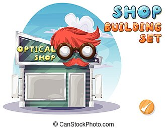 Cartoon vector optical shop for game and animation