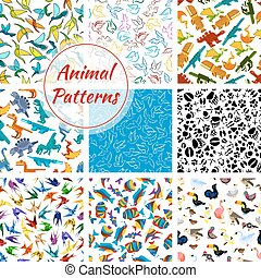 Cartoon vector pattern of dinosaurs, fishes, birds