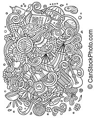 Cartoon vector picnic doodle frame