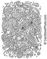 Cartoon vector picnic doodle frame - Cartoon cute doodles...