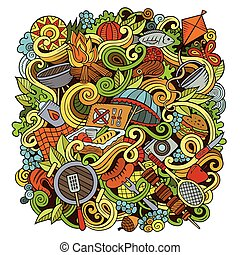 Cartoon vector picnic doodle illustration - Cartoon cute ...