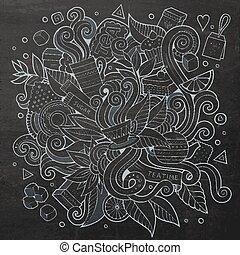 Cartoon vector schalkboard doodles hand drawn tea time -...