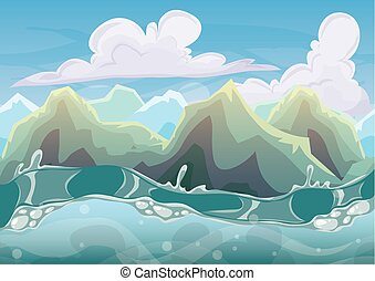 cartoon vector sea background with separated layers for game art and animation