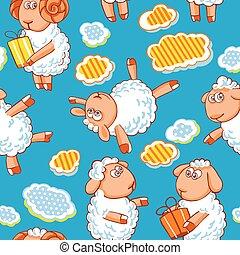 Cartoon vector seamless pattern with cute sheep.