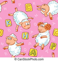 Cartoon vector seamless pattern with cute sheep.