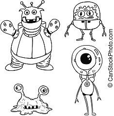 Cartoon Vector Set 02 of Friendly Aliens Astronauts