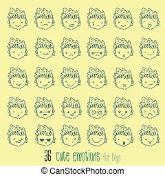 Cartoon vector set. 36 different emotions with boy.